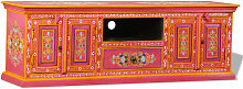 TV Cabinet Solid Mango Wood Pink Hand Painted -