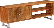 TV Cabinet Solid Wood with Carved Doors 140x30x40