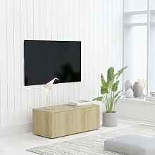 TV Cabinet Sonoma Oak 80x34x30 cm Chipboard - Brown