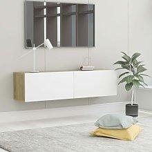 TV Cabinet White and Sonoma Oak 120x30x30 cm
