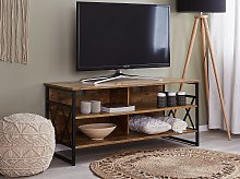 TV RTV Stand Cabinet Dark Wood Metal and Particle