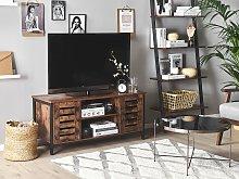 TV Stand Dark Wood Black Iron Frame 110 x 50 x 40
