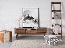 TV Stand Dark Wood Storage Shelf Cabinet Cable