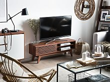 TV Stand Dark Wood Storage Shelf Sideboard Cable