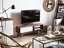 TV Stand Dark Wood White Storage Shelf Cable