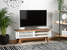 TV Stand Dark Wood White TV Up To 53ʺ Recommended