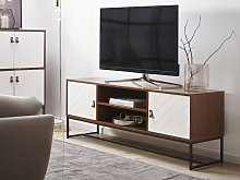 TV Stand Dark Wood with White Metal Legs