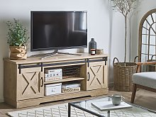 TV Stand Light Wood Storage Media Unit for up to