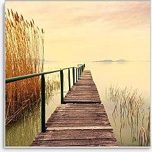 Twilight Pier Framed Print, 58 x 58cm, Yellow