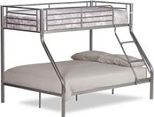 Twin Sleeper Silver Metal Bunk Bed Frame - 3ft