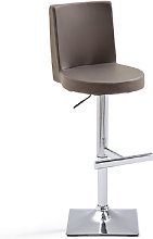 Twist Bar Stool Brown Faux Leather With Square