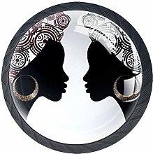 Two African Woman Cabinet Door Knobs Handles Pulls