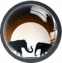 Two Elephant Shadow Under Moon 4 Pcs Glass Cabinet