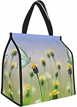 Two Gray Butterflies On Yellow Flowers Lunch Tote