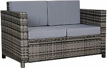 Two-Seater Rattan Sofa w/ Padded Cushion Outdoor