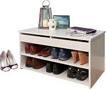 Two Tier Shoe Cabinet - White