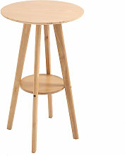 Two-Tier Wood Frame High Dining Cocktail Bar Table
