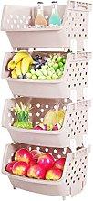 TXXCI 4Pcs Plastic Fruit Vegetable Stackable