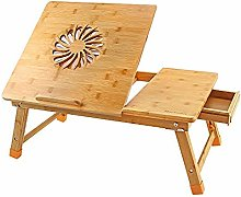 TYJIAJU Bamboo Laptop Table Bed Small Desk Folding