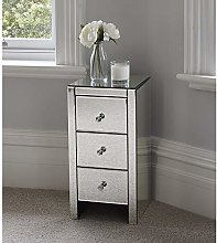 U-Kiss Glass Cabinet with 3 Drawers, Side Crystal