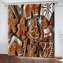 UDKHJH© 3D Children Bedroom Curtains - Brown Food