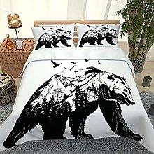 UDUVOG Duvet Cover, Abstract Animal Bear Pattern