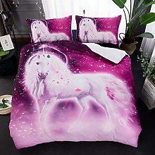 UDUVOG Duvet Cover, Purple Starry Animal Horse