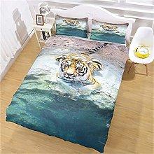 UDUVOG Single Duvet Cover Set Animal Tiger By The