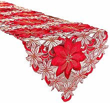 UEXCN Holiday Christmas Table Runner, Cutwork