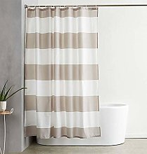ufengke Shower Curtain Brown Stripe with 12 Hooks