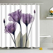 ufengke Shower Curtain Purple Floral with 12 Hooks