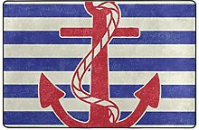 UHONEY Polyester Doormat Nautical Anchor Patterned