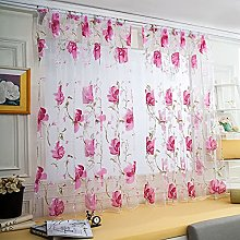 UKAP Floral Voile Sheer Curtain Peony Flower Tulle