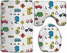 UKSILYHEART Bath Mats Cars And Trucks Toilet Cover