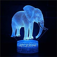 Ulalaza 3D Illusion Night Light Desk Elephant Lamp