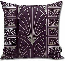 Uliykon Art Deco Dark Purple Throw Pillow Cushion