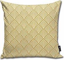 Uliykon Art Deco Fans Gold Throw Pillow Cushion