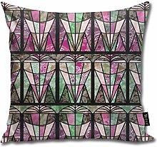 Uliykon Art Deco Fans Pink Throw Pillow Cushion
