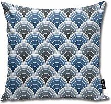 Uliykon Art Deco Moody Blue Scallop Fans Throw