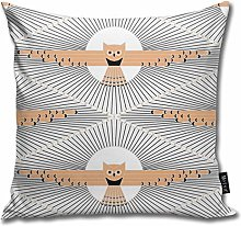 Uliykon Art Deco Moon Owl Color Throw Pillow