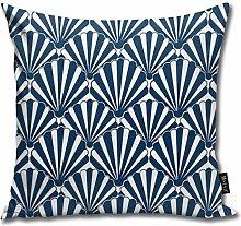 Uliykon Art Deco Pattern Navy Shell Art Deco Fan