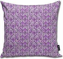 Uliykon Art Deco Peacock Lilac Throw Pillow