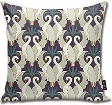 Uliykon Art Deco Swans Deep Plum U Teal Throw