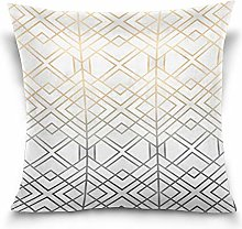 Uliykon Gold And Grey Geo Throw Pillows Covers