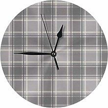 Uliykon Round Wall Clock Tartan soft grey charcoal