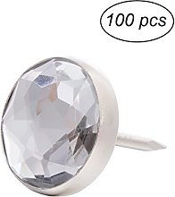 ULTNICE 100pcs Crystal Head Upholstery Nails Tacks
