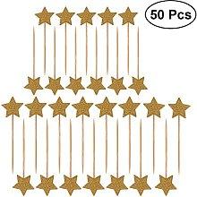 Ultnice 50Pieces Stars Cake Topper Cover Glitter