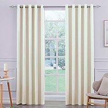Ultra Soft Cream Satin Blackout Eyelet Curtain