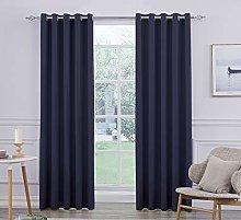 Ultra Soft Satin Navy Blue Eyelet Curtain Window