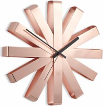 Umbra - Copper Ribbon Wall Clock - Copper/Black